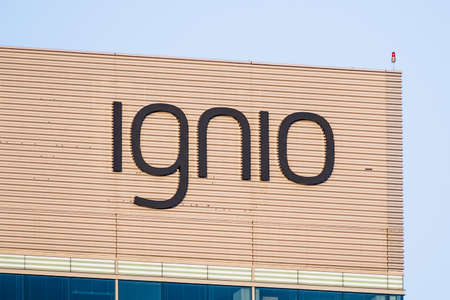 August 9, 2020 Santa Clara / CA / USA - Ignio sign at their headquarters in Silicon Valley; Ignio is the cognitive automation solution for IT operations developed by Tata Consultancy Services