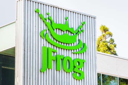 Aug 13, 2019 Sunnyvale / CA / USA - JFrog logo at their headquarters in Silicon Valley; JFrog Ltd. operates as a software development company and provides technologies and tools for the everyday use