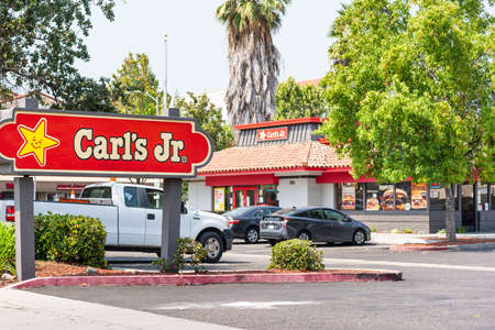 September 2, 2020 Santa Clara / CA / USA - Carl's Jr. location in San Francisco Bay Area; Carl's Jr. Restaurants LLC is an American fast food restaurant chain operated by CKE Restaurant Holdings, Inc