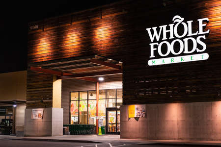 August 29, 2020 San Jose / CA / USA - Night view of Whole Foods store located in Almaden Valley / Blossom Hill area of San Jose