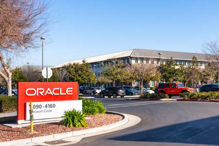 February 7, 2020 Santa Clara / CA / USA - Oracle Santa Clara campus in Silicon Valley; Oracle Corporation is a global computer technology company specializing in database management systems