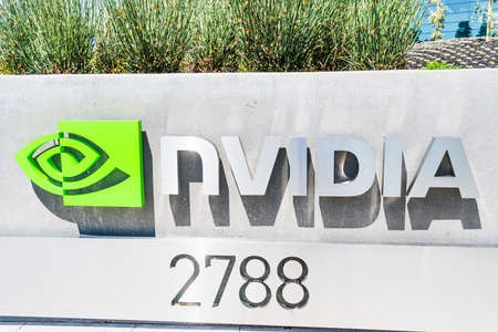 August 9, 2019 Santa Clara / CA / USA - The NVIDIA logo and symbol displayed at the entrance to the Company's campus in Silicon Valley