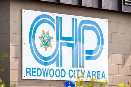 September 15, 2020 Redwood City / CA / USA - CHP logo at one of their facilities in San Francisco Bay Area;  The CHP (California Highway Patrol) is a state law enforcement agency