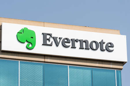 September 15, 2020 Redwood City / CA / USA - Evernote Corporation logo at their headquarters in Silicon Valley; Evernote is an app designed for note taking, organizing, task management, and archiving