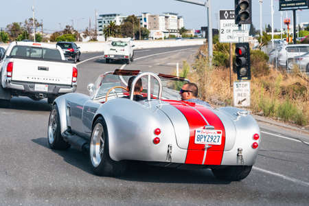 September 15, 2020 Redwood City / CA / USA - Vintage Shelby Cobra vehicle on the roads of San Francisco bay area on a sunny day