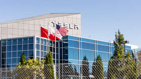 September 23, 2020  Fremont / CA / USA - Exterior view of Tesla Inc offices and production facility in East San Francisco bay area, Silicon Valley