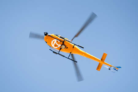 Sep 25, 2020 Redwood City / CA / USA - Close up of KGO-TV helicopter flying low;  KGO-TV, virtual channel 7, is an ABC owned-and-operated television station licensed to San Francisco