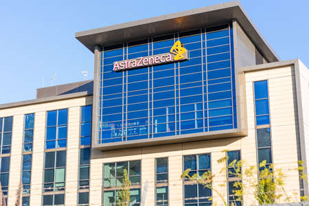 Sep 21, 2020 South San Francisco / CA/ USA - Astra Zeneca headquarters in Silicon Valley; AstraZeneca plc is a British multinational pharmaceutical and biopharmaceutical company Editorial