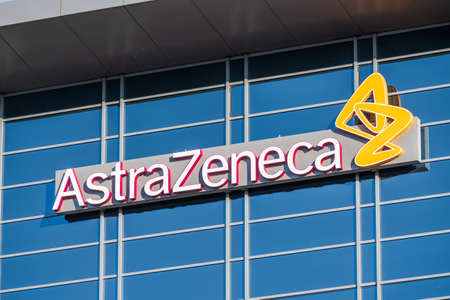Sep 21, 2020 South San Francisco / CA/ USA - Astra Zeneca logo at their headquarters in Silicon Valley; AstraZeneca plc is a British multinational pharmaceutical and biopharmaceutical company