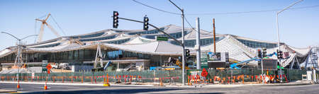 Sep 29, 2020 Mountain View / CA / USA - Panoramic view of Google's new Charleston East campus under construction next to the Googleplex Editorial