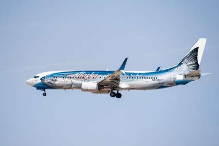 Sep 25, 2020 San Jose / CA / USA - Alaska Airlines (Salmon-Thirty-Salmon Livery) aircraft arriving at San Jose International Airport;