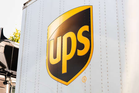 Sep 17, 2020 Fremont / CA / USA - Close up of UPS logo printed on a delivery truck