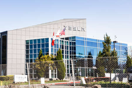 November 10, 2020  Fremont / CA / USA - Exterior view of Tesla Inc offices and production facility in East San Francisco bay area, Silicon Valley