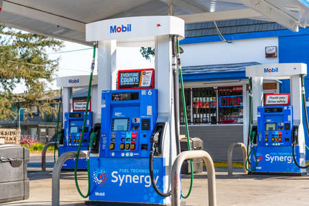 Oct 28, 2020 Concord / CA / USA - Mobil gas station in San Francisco bay area 新闻类图片