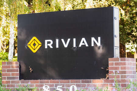 Sep 29, 2020 Palo Alto / CA / USA - Rivian logo at their Silicon Valley headquarters; Rivian Automotive Inc is an American automaker and automotive technology company that develops electric vehicles