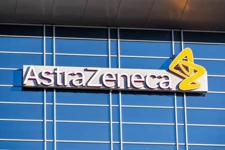 Sep 21, 2020 South San Francisco / CA/ USA - Astra Zeneca logo at their Silicon Valley headquarters; AstraZeneca plc is a British multinational pharmaceutical company testing a COVID-19 vaccine