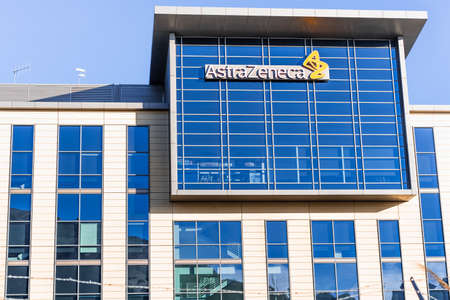 Sep 21, 2020 South San Francisco / CA / USA - Astra Zeneca headquarters in Silicon Valley; AstraZeneca plc is a British multinational pharmaceutical company on track to finalize a COVID-19 vaccine