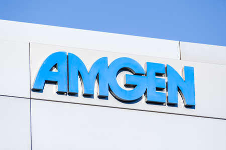 Sep 21, 2020 South San Francisco / CA / USA - Amgen sign at their headquarters in Silicon Valley; Amgen Inc. is an American multinational biopharmaceutical company