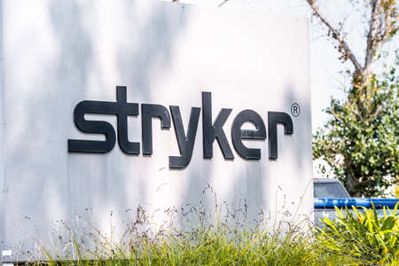 Sep 17, 2020 Fremont / CA / USA - Stryker Corporation logo at their headquarters in Silicon Valley; Stryker Corporation is an American multinational medical technologies corporation 新闻类图片