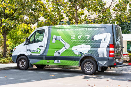 Sep 17, 2020 Fremont / CA / USA - Olympus Controls branded vehicle parked at their headquarters in Silicon Valley; Olympus Controls Corporation was acquired by Applied Industrial Technologies in 2019