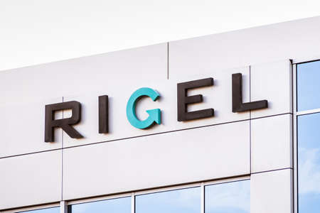 Sep 21, 2020 South San Francisco / CA / USA - Rigel sign at the Silicon Valley HQ; Rigel is a biotech pharma company whose drug fostamatinib, is being evaluated for the treatment of COVID-19 pneumonia