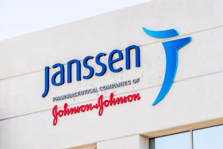 Sep 21, 2020 South San Francisco / CA / USA - Janssen logo at their Silicon Valley HQ; Janssen Research and Development, part of Johnson & Johnson, is currently developing a vaccine against COVID-19
