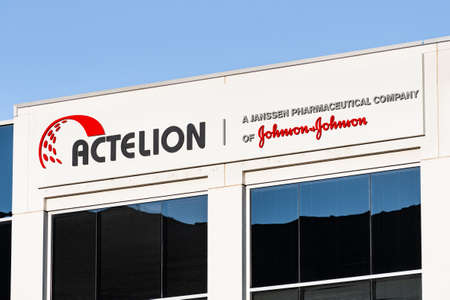 Sep 21, 2020 South San Francisco / CA / USA - Actelion sign at their headquarters in Silicon Valley; Actelion is a pharmaceuticals and biotechnology company part of Johnson & Johnson group 新闻类图片