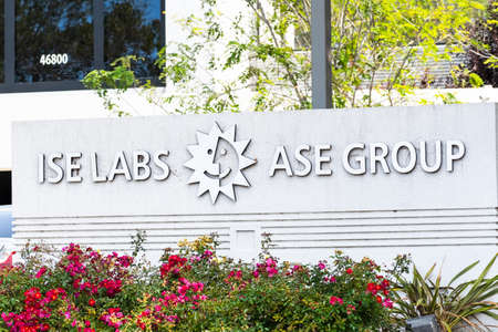 Sep 17, 2020 Fremont / CA / USA - ISE Labs / ASE Group sign at their headquarters in Silicon Valley; ASE Group is a provider of independent semiconductor assembling and test manufacturing services
