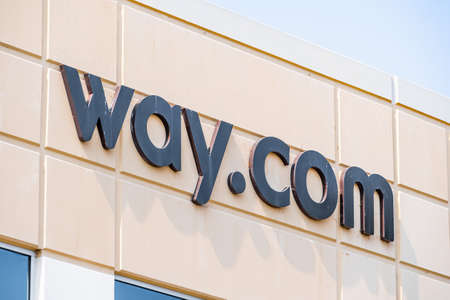 Sep 17, 2020 Fremont / CA / USA - Way.com logo at their headquarters in Silicon Valley; Way.com is an online marketplace based in Silicon Valley offering parking and other activities 新闻类图片