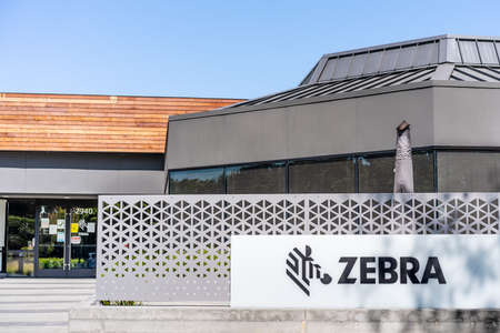 Sep 18, 2020 San Jose / CA / USA - Zebra Technologies headquarters in Silicon Valley; Zebra Technologies Corporation manufactures and sells marking, tracking and computer printing technologies