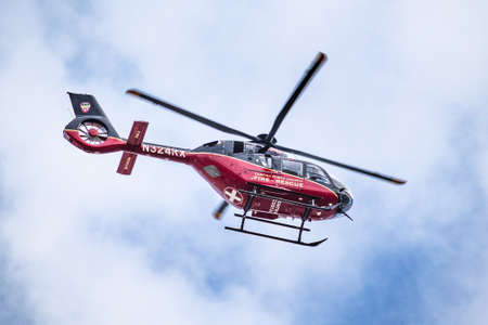 Dec 15, 2020 Oakley / CA / USA - Contra Costa County Fire Rescue helicopter making an emergency transport in San Francisco bay area