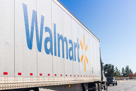 Nov 27, 2020 Concord / CA / USA - Walmart truck driving on the freeway in East San Francisco Bay Area Editorial