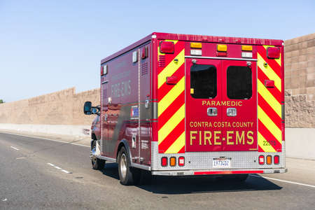 Oct 24, 2020 Antioch / CA / USA - Contra Costa County Fire EMS vehicle travelling on the freeway Editorial