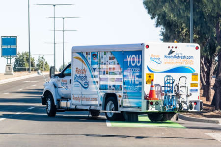 Sep 22, 2020 Sunnyvale / CA / USA - Ready Refresh by Nestle truck making deliveries of water and beverages in South San Francisco Bay Area Editorial