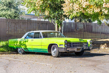 Dec 3, 2020 Brentwood / CA / USA - Cadillac Sedan deVille vehicle stopped in a parking lot