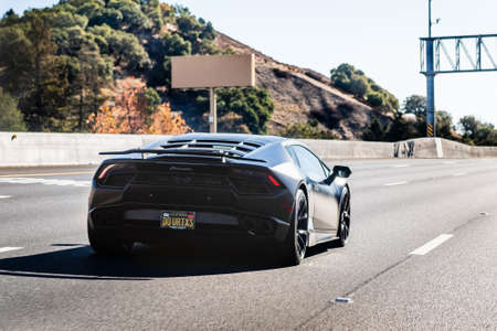 Nov 27, 2020 Walnut Creek / CA / USA - Lamborghini vehicle driving on the freeway in San Francisco Bay Area
