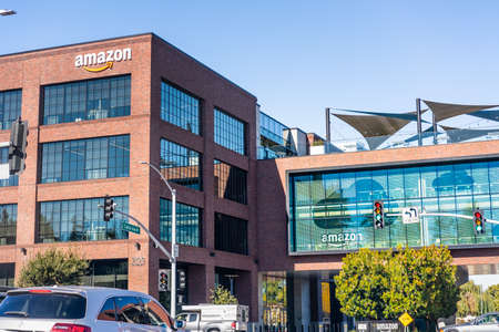Nov 27, 2020 East Palo Alto / CA / USA - Amazon office building situated in Silicon Valley, San Francisco bay area Editorial
