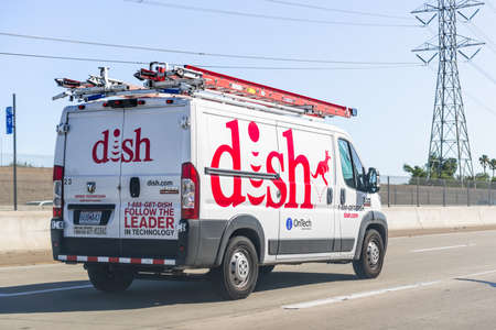 Sep 23, 2020 Pittsburg / CA / USA - Dish truck driving on the freeway; Dish Network Corporation is an American television provider, the owner of the direct-broadcast satellite provider Dish