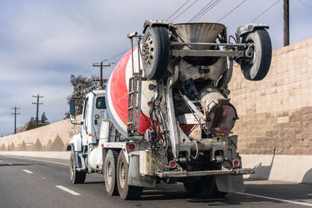 Jan 5, 2021 Pittsburg / CA / USA - Cemex mixer truck transporting cement to the construction site; CEMEX S.A.B. de C.V., is a Mexican multinational building materials company