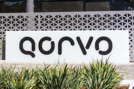 Sep 18, 2020 San Jose / CA / USA - Qorvo sign at their headquarters in Silicon Valley; Qorvo Inc manufactures analog and mixed signal integrated circuits used for wireless communications applications