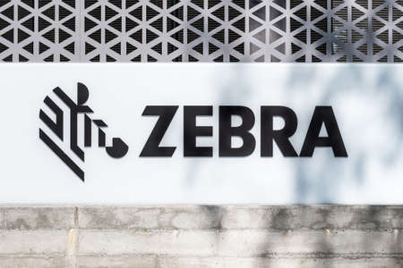 Sep 18, 2020 San Jose / CA / USA - Zebra Technologies logo at their Silicon Valley HQ; Zebra Technologies Corporation manufactures and sells marking, tracking and computer printing technologies