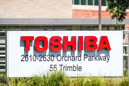 Sep 18, 2020 San Jose / CA / USA - Toshiba logo at the Toshiba America Electronic Components headquarters in Silicon Valley; Toshiba Corporation is a Japanese multinational conglomerate Editorial