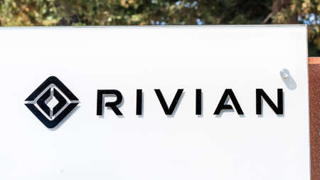 Sep 18, 2020 San Jose / CA / USA - Rivian logo at their Silicon Valley headquarters; Rivian Automotive Inc is an American automaker and automotive technology company that develops electric vehicles Editorial