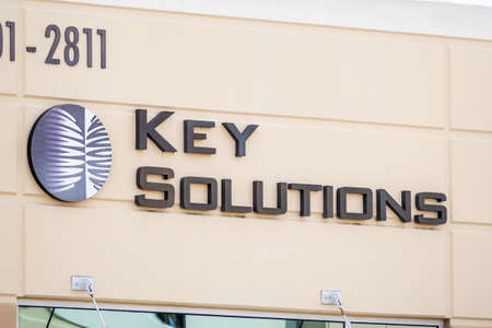 Sep 17, 2020 Fremont / CA / USA - Key Solutions logo at their headquarters in Silicon Valley; Key Solutions Inc is providing computer programming services