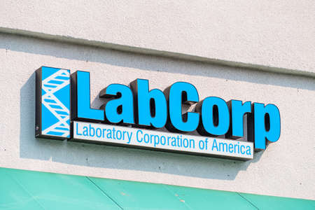 Oct 2, 2020 Sunnyvale / CA / USA - Labcorp logo at one of the patient service centers; Laboratory Corporation of America Holdings operates one of the largest clinical laboratory networks in the world