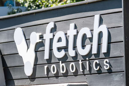 Sep 18, 2020 San Jose / CA / USA - Fetch Robotics logo at their headquarters in Silicon Valley; Fetch Robotics Inc. provides industrial automation services