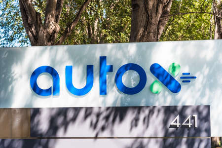 Sep 18, 2020 San Jose / CA / USA - AutoX logo at their headquarters in Silicon Valley; AutoX, a startup backed by Alibaba, MediaTek and Shanghai Motors, develops autonomous driving technology