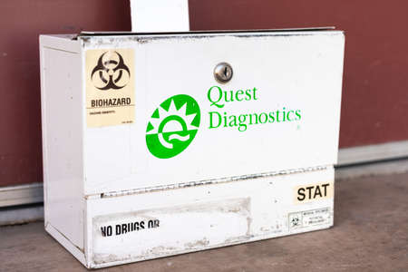 Jan 6, 2021 Brentwood / CA / USA - Quest Diagnostics specimen lock box; Quest Diagnostics Incorporated provides diagnostic testing, information, and services