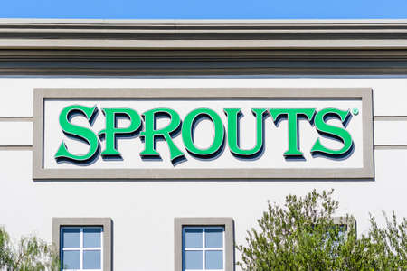 Oct 23, 2020 Brentwood / CA / USA - Sprouts Farmer's Market supermarket sign displayed on the facade of one of their stores located in San Francisco bay area
