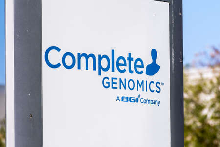 Sep 18, 2020 San Jose / CA / USA - Complete Genomics logo at the Silicon Valley HQ; Complete Genomics Inc is a life sciences company owned by BGI-Shenzhen that has developed a DNA sequencing platform